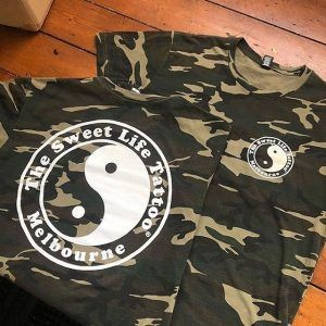 the sweet life tattoo t shirt camo